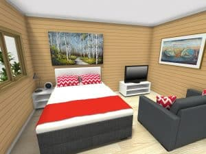 #d Render of the Inside of The Haven Cabin