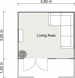 2D Floor Plan of the Teenage Retreat Cabin