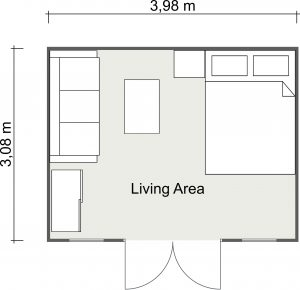 2D Floor Plan of The Art Studio Cabin