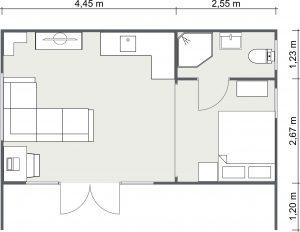 2D Floor Plan for The Stradbroke Cabin