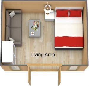 3D Floor plan of the Art Studio Cabin