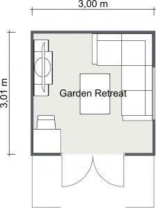 Garden Retreat Cabin 2D Floor Plan Image